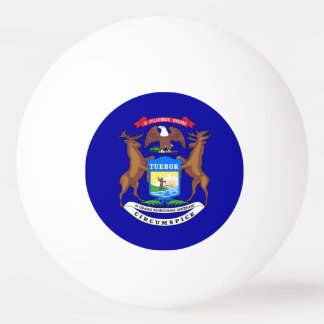 Special ping pong ball with Flag of Michigan