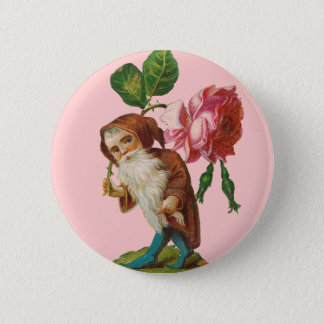 Special Vintage Gnome With A Pink Rose 2 Inch Round Button