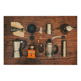 Specialty Coffee Brewing Wood Wall Art Frame