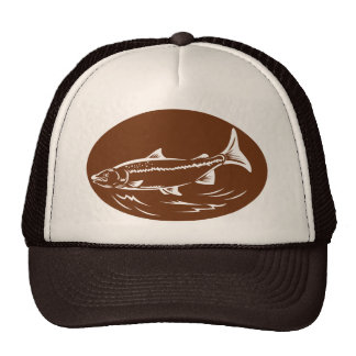 speckled spotted trout fish retro woodcut mesh hat