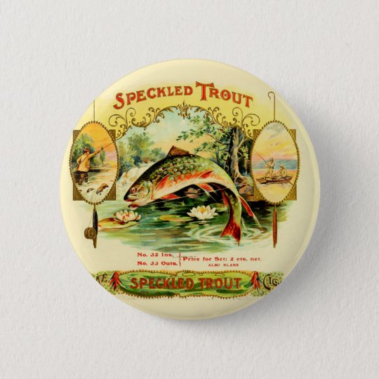 Speckled Trout Vintage Art 2 Inch Round Button