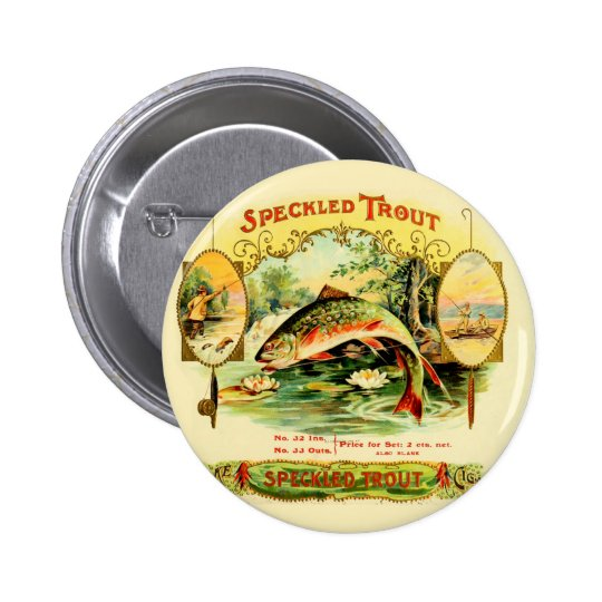 Speckled Trout Vintage Art 2 Inch Round Button