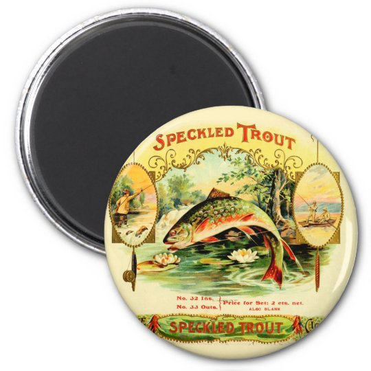 Speckled Trout Vintage Art 2 Inch Round Magnet