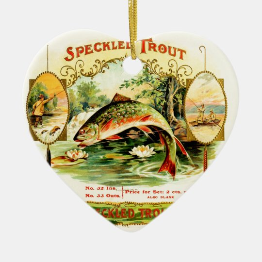 Speckled Trout Vintage Art Ceramic Heart Ornament