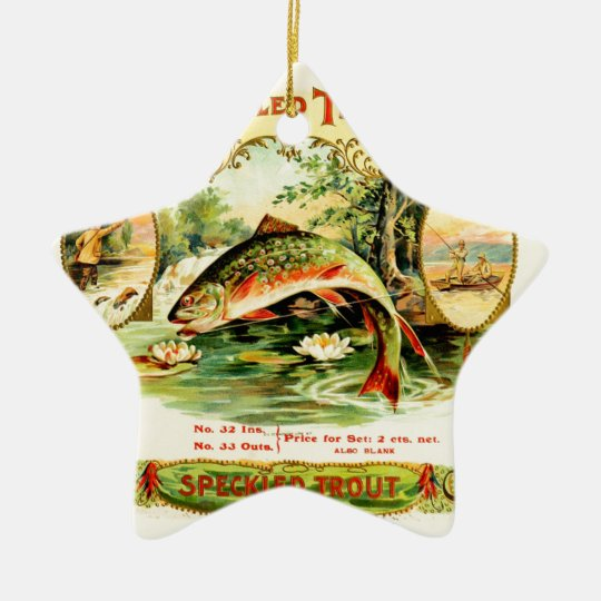 Speckled Trout Vintage Art Ceramic Star Ornament