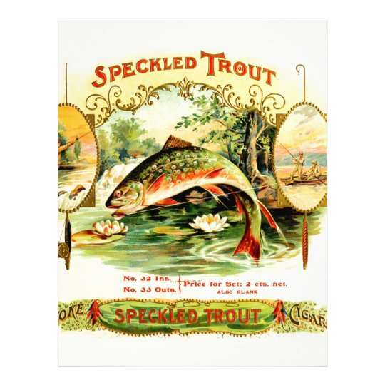 Speckled Trout Vintage Art Letterhead