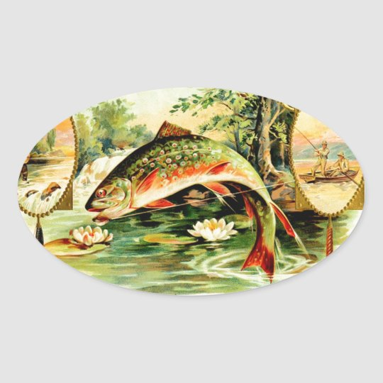 Speckled Trout Vintage Art Oval Sticker