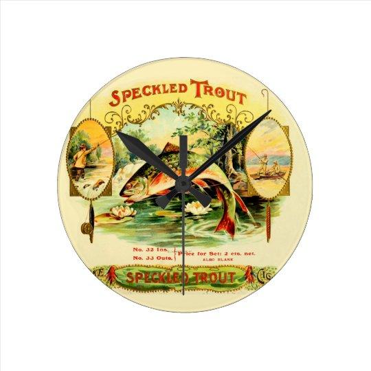 Speckled Trout Vintage Art Round Clock