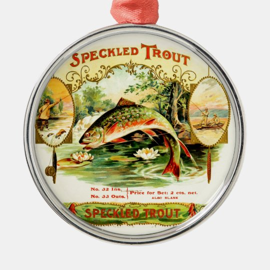 Speckled Trout Vintage Art Silver-Colored Round Ornament