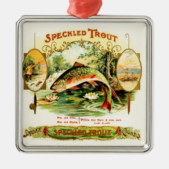 Speckled Trout Vintage Art Silver-Colored Square Ornament