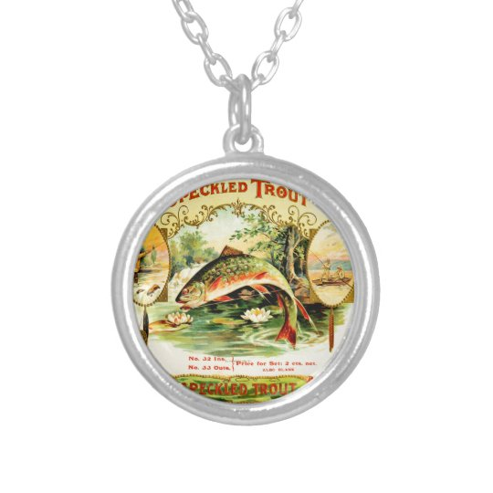 Speckled Trout Vintage Art Silver Plated Necklace