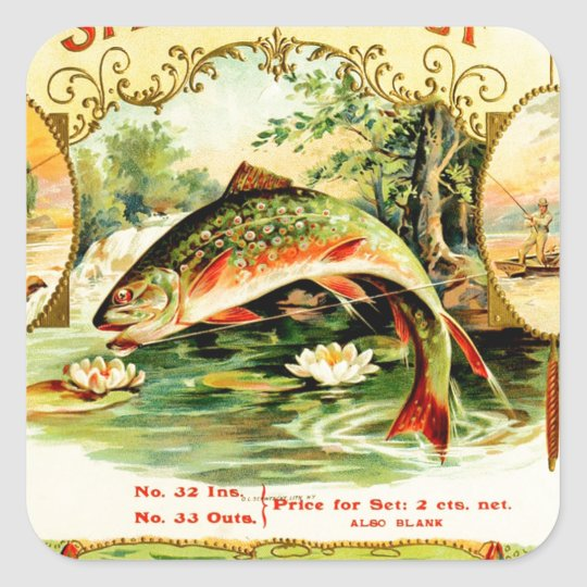 Speckled Trout Vintage Art Square Sticker
