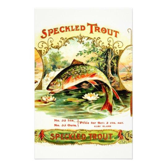 Speckled Trout Vintage Art Stationery Paper