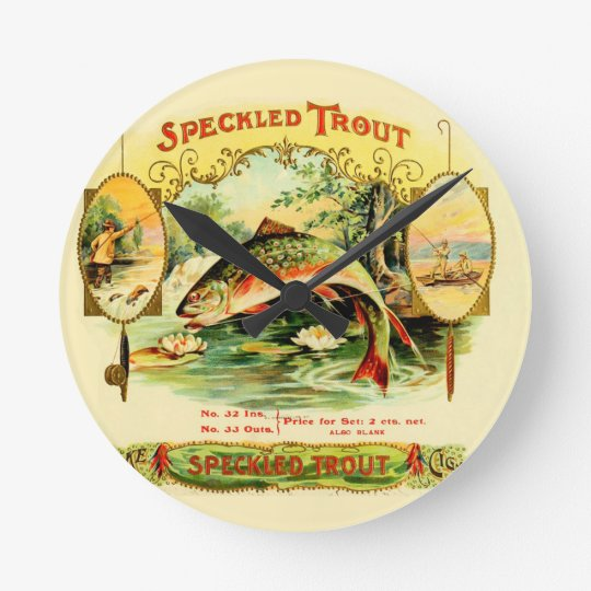 Speckled Trout Vintage Art Wall Clock