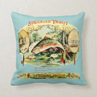 Speckled Trout Vintage Cigar Box Label Throw Pillow