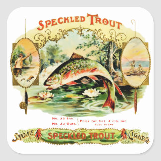 Speckled Trout Vintage Cigar Box Square Sticker