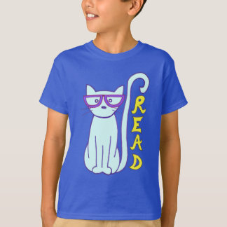 Spectacle Cat with Purple Glasses with Read shirt