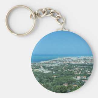 Spectacular aerial panorama of Livorno city, Italy Basic Round Button Keychain