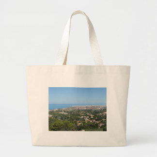 Spectacular aerial panorama of Livorno city, Italy Large Tote Bag