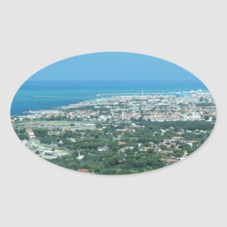 Spectacular aerial panorama of Livorno city, Italy Oval Sticker