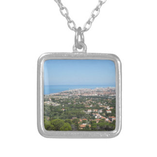 Spectacular aerial panorama of Livorno city, Italy Silver Plated Necklace