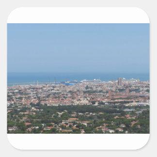 Spectacular aerial panorama of Livorno city, Italy Square Sticker