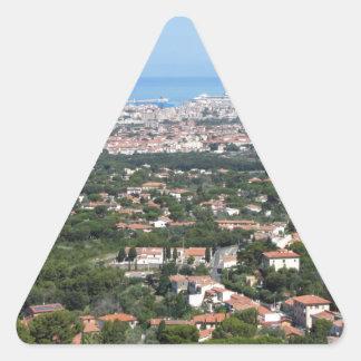 Spectacular aerial panorama of Livorno city, Italy Triangle Sticker
