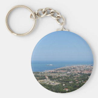Spectacular aerial panorama of Livorno city Keychain