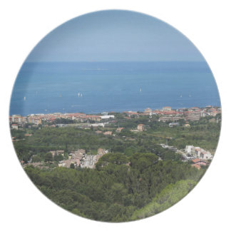 Spectacular aerial panorama of Livorno city Plate