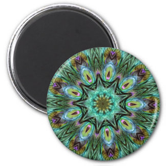 Spectacular Color Peacock Feather Kaleidoscope Refrigerator Magnet
