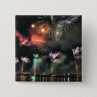Spectacular Fireworks 2 Inch Square Button
