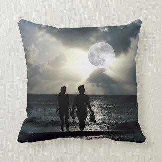 Spectacular Full Moon, Ocean, Waves and Beach Throw Pillow