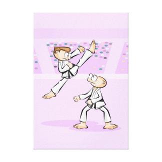 Spectacular karate jump of open legs canvas print