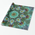 Spectacular Peacock Feather Kaleidoscope Party Wrapping Paper