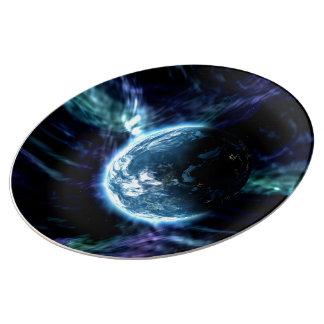 Spectacular Space Starry Aurora Nebula Plate