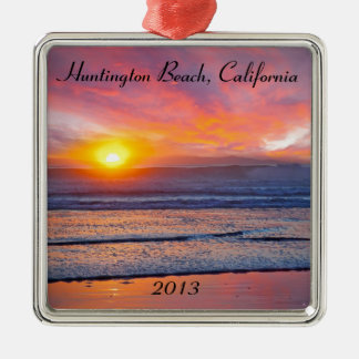 Spectacular Sunset at Huntington Beach Metal Ornament