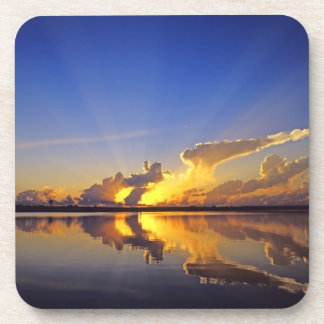 Spectacular Sunset over the Little Muddy River Beverage Coasters