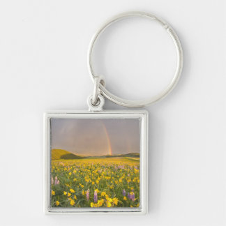 Spectacular wildflower meadow at sunrise in 2 Silver-Colored square keychain