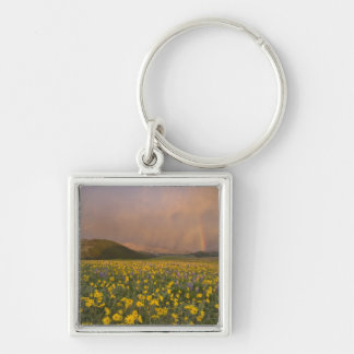 Spectacular wildflower meadow at sunrise in Silver-Colored square keychain