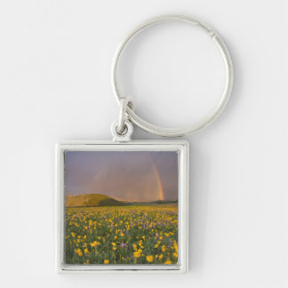 Spectacular wildflower meadow at sunrise in the 2 Silver-Colored square keychain