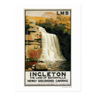 Spectators Climb on Waterfall Railway Poster Postcard