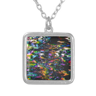 Spectral Triangles Glitch Silver Plated Necklace
