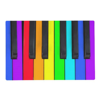 Spectrum Colors Piano Keyboard Laminated Placemat