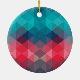 Spectrum Geometric Background Round Ceramic Ornament