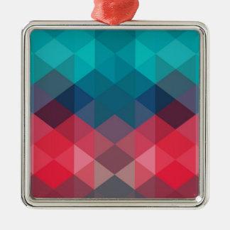 Spectrum Geometric Background Silver-Colored Square Ornament