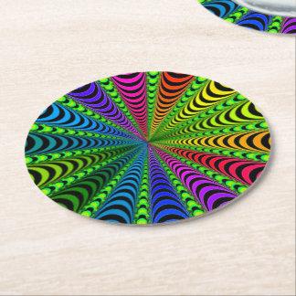 SPECTRUM Spiral, Visual Illusion, Rainbow / Green Round Paper Coaster