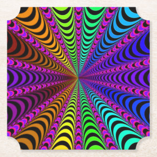 SPECTRUM Spiral, Visual Illusion, Rainbow / Pink Paper Coaster