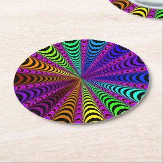 SPECTRUM Spiral, Visual Illusion, Rainbow / Pink Round Paper Coaster