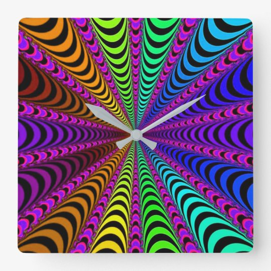 SPECTRUM Spiral, Visual Illusion, Rainbow / Pink Square Wall Clock
