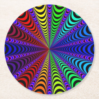 SPECTRUM Spiral, Visual Illusion, Rainbow / Purple Round Paper Coaster